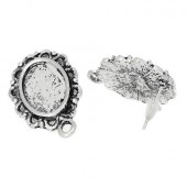 1 Paar Cabochon Stekertjes Antiek Zilver