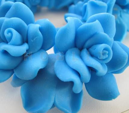 1x Fimo roos Blauw 3 cm