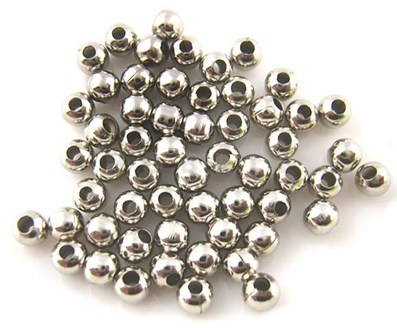 Metalen Kraal Donker Zilver