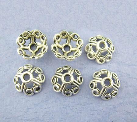 10x Kralen Kapjes Donker zilver 10 mm