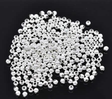 1000x Metalen gladde kraal lichtzilver