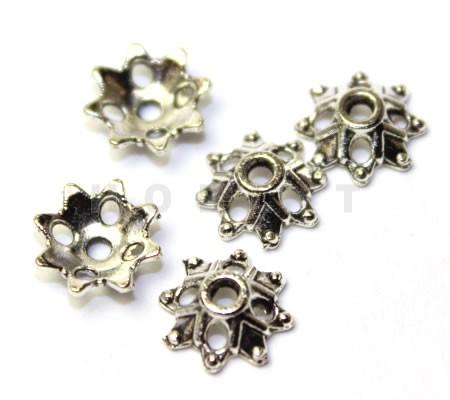 20x Kralenkapjes Donker zilver
