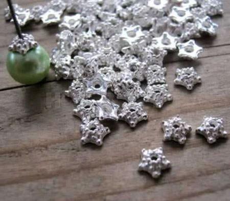 100 donker zilveren kapjes 5 mm stervormig