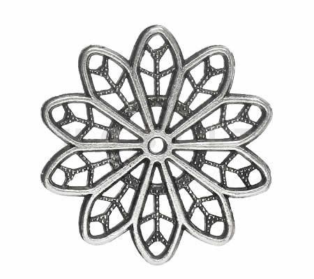 1x Filigrain ornament donker zilver