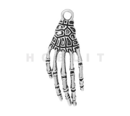 Bedeltje Skelet Hand Donker Zilver