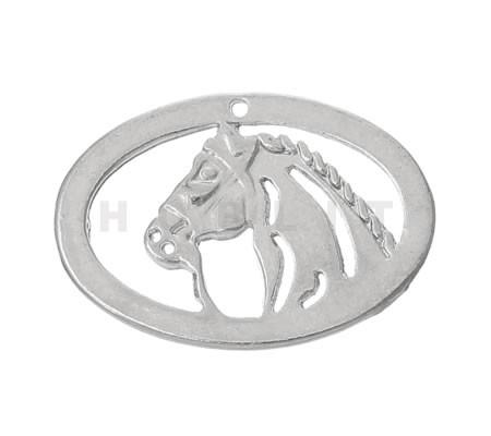 1x Bedeltje Paard LichtZilver (klein)