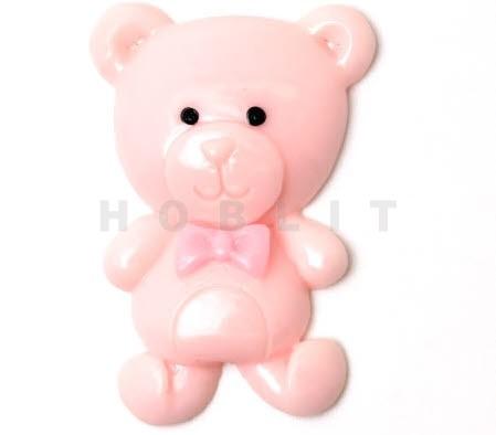 1x cabochonbeertje roze