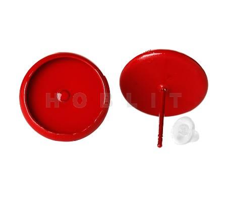 Stekertjes cabochon 12 mm gespoten rood