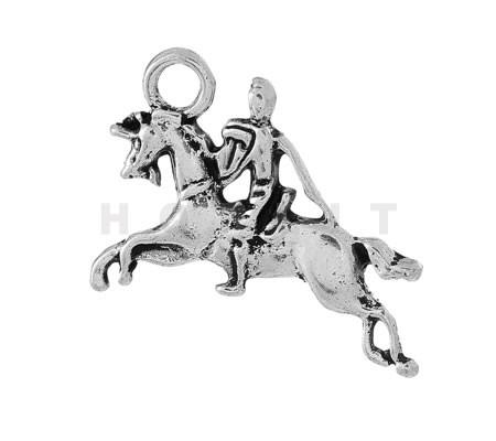 Bedeltje Paard en Ruiter Donker Zilver