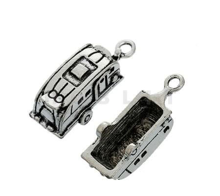Bedeltje Caravan Donker zilver 3D