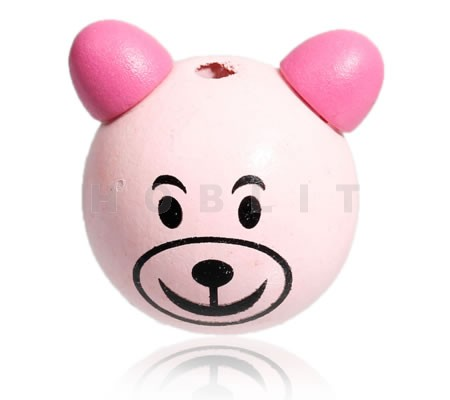 1x Houten kraal roze Beertje