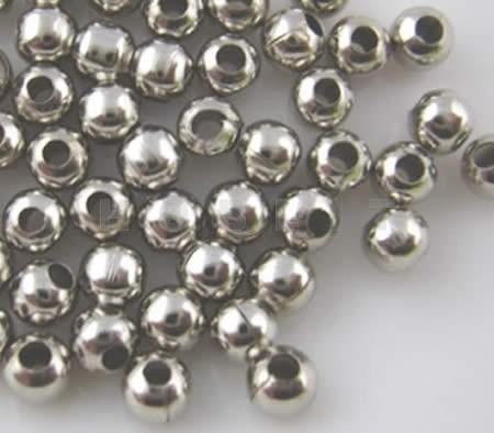 200x Metalen gladde kraal donker zilver