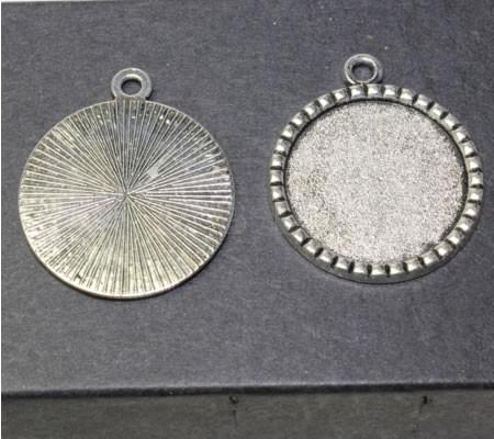 1x Cabochon hanger Donker Zilver 25 mm