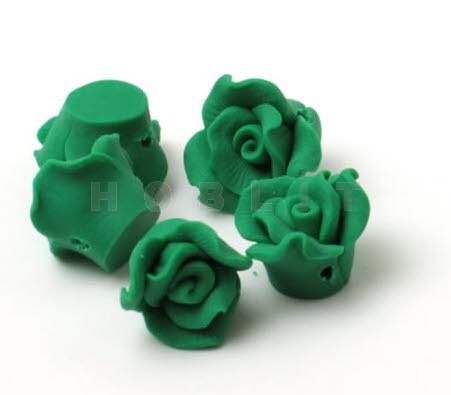 Fimo roosjes donker groen
