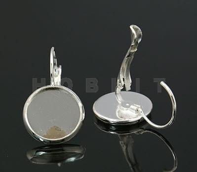 1 Paar Cabochonhaakjes Donker Zilver