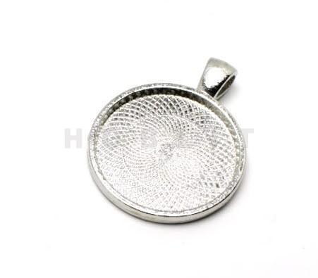 Cabochon Houder Donker Zilver 25mm