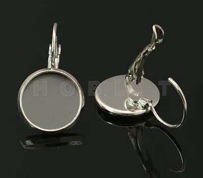 Cabochon oorbelhaakjes plakvlak 12 mm