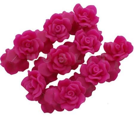1x Fimo roos Fuchsia 3 cm