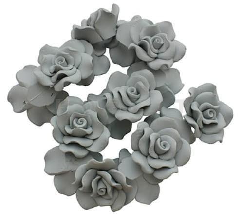 1x Fimo roos grijs 3 cm