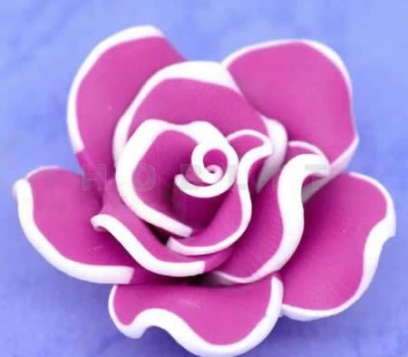1x Fimo roos Fuchsia/wit 3 cm
