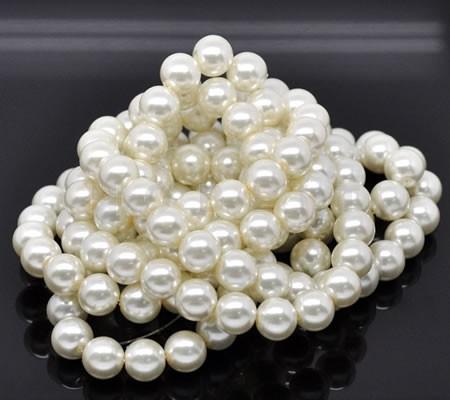 Glasparel snoertje - 12 mm Gebroken Wit (35 stuks)