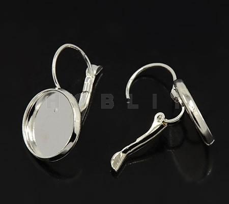Cabochon oorbelhaakjes Donker Zilver 14 mm