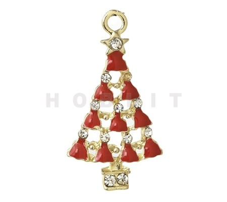1x Bedel kerstboom Emaille Wit/Rood Goud