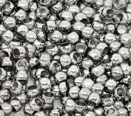 Knijpkralen Donker zilver 4 mm