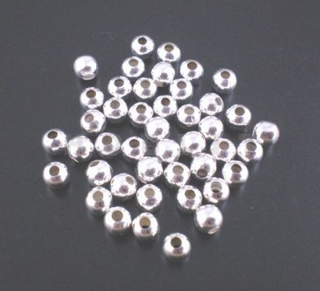 50x Metalen gladde kraal Lichtzilver