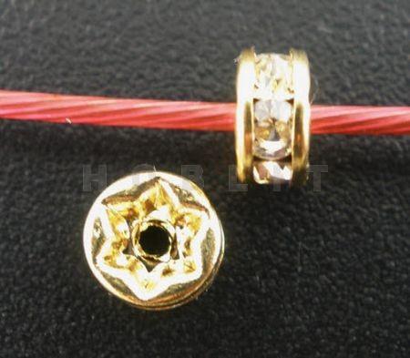 10x goudkleurige strass rondellen 5 mm
