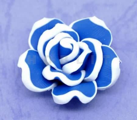 Fimo Roos Blauw/Wit 3 cm