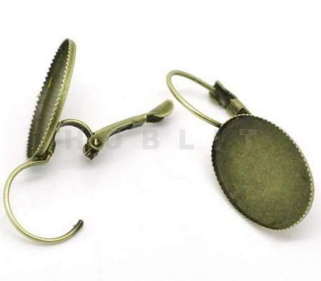 Bronzen Cabochon Oorbellen