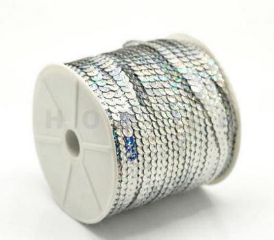 1 Meter Paillettenband AB Zilver