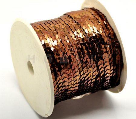 1 Meter Paillettenband Bruin