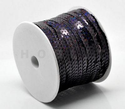 1 Meter Paillettenband Zwart