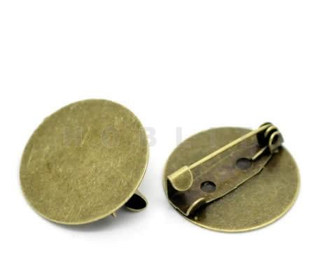 Broche plakspeldje Brons 20 mm