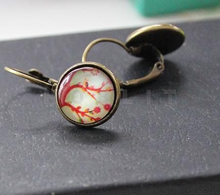 1 Paar oorbelletjes Brons/Rood