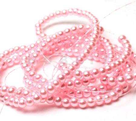 Snoertje Glasparels 4 mm Roze