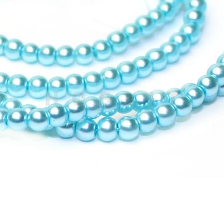 Snoertje Glasparels 4 mm Licht Turquoise