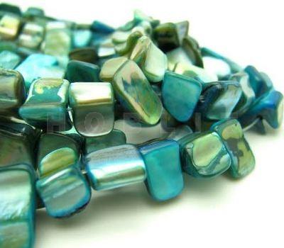 Snoertje schelpblokjes Turquoise/Blauw