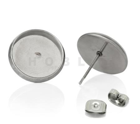 Stekertjes Cabochon 12 mm RVS