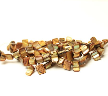 Snoertje schelpblokjes Donker Oranje/Bruin