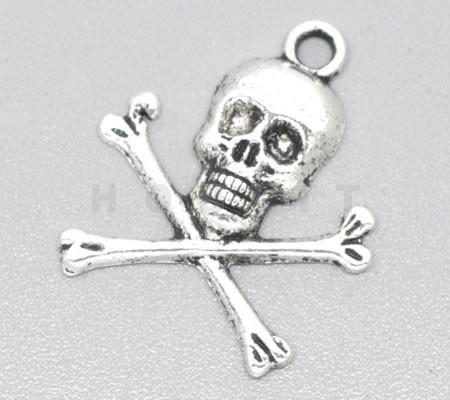 Skull Bedeltje Donker Zilver