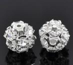 1x strass kraal 10 mm zilver/wit