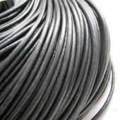 1 Meter Zwart Lederen veter, dikte 2 mm