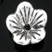 10 stuks acryl bloemetje donker zilver