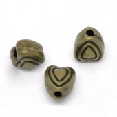 5x Metalen hartjes 6 mm Brons