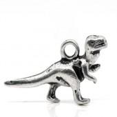 1x Klein Bedeltje Dinosaurus Donker Zilver