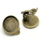 1 paar cabochon oorbel clips brons