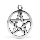 1x Bedel Pentagram Donker Zilver